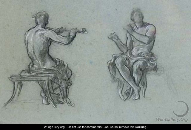 Two studies of a man piping, for Music - Lord Frederick Leighton