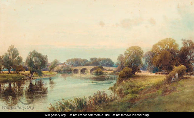 Figures seated on a river bank before a village - Frank Gresley