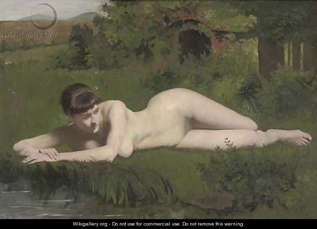 Reclining nude on the riverbank - Frank Duveneck