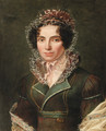 Portrait of a lady, half-length, in a green dress - Francois-Marius Granet