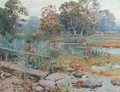 A wooded river landscape - Frank Richards, R.B.A.