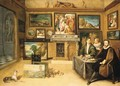 The interior of a collector's cabinet with Justus Lipsius and two constliefhebbers - Frans II Francken