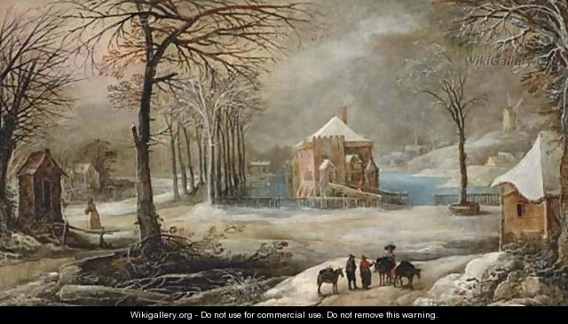 An extensive winter village landscape with peasants and their mules on a path - Frans de Momper