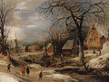 A village scene in winter with peasants by a river - Frans de Momper
