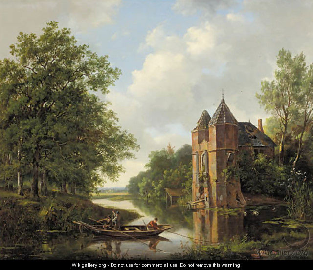 A riverlandscape with anglers in a rowingboat by a ruined mansion
