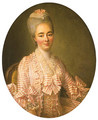 Portrait of a Lady, said to be Yvonette Moulin de la Racinire, seated half-length, in a pink and white striped dress with lace trimmings - Francois-Hubert Drouais