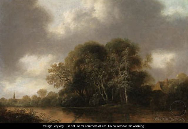 A wooded river landscape with a cottage, a church spire beyond - Francois Van Knibbergen