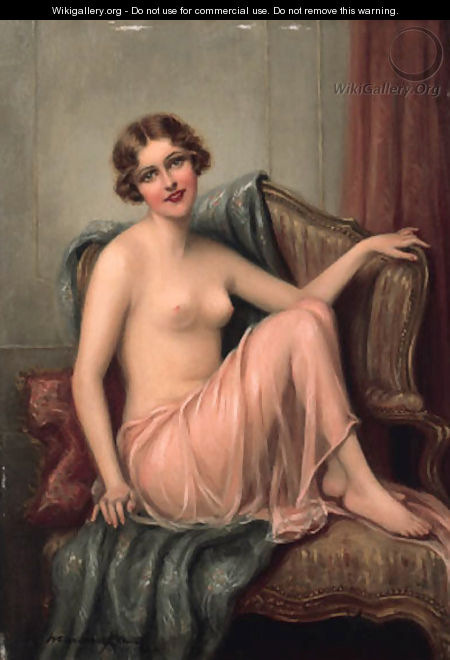 The courtesan seated on a couch - Francois Martin-Kavel