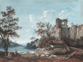 An extensive river landscape with the ruins of an abbey, shepherds in the foreground - Franois Huet