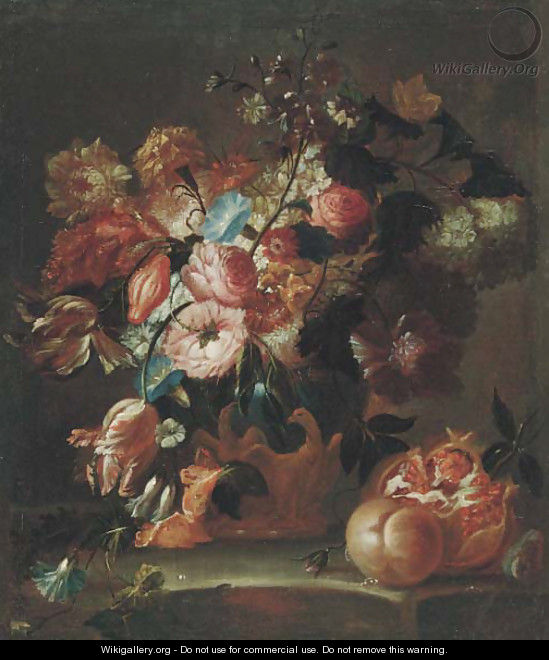 Flowers in sculpted urns with fruit on stone ledges - Franz Werner von Tamm