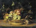 Bunches of grapes in a basket on a ledge - Frans Snyders