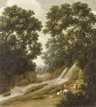 A forest with natives carrying baskets on a path by a waterfall - Frans Jansz. Post