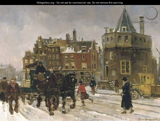 The Prins Hendrikkade by the Schreierstoren Amsterdam in winter - Frans Langeveld