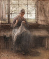 Girl sewing by a window - Jozef Israels