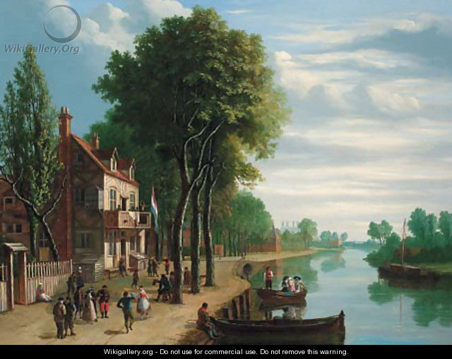 Dutch figures merrymaking on the bank of a river - Joseph F. Ellis
