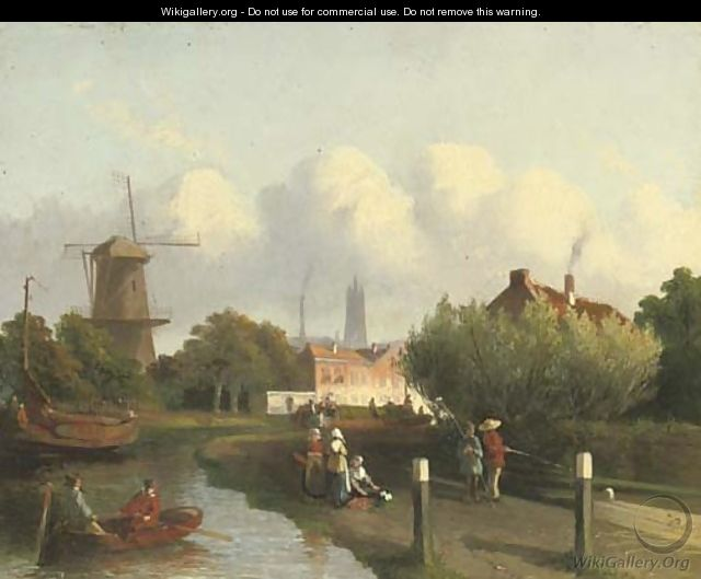 A busy canal near a Dutch town - Joseph Bles