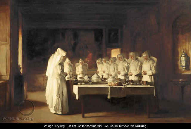 Sisters of Charity Saying Grace Before a Meal at the Hospice in Beaune, France, (Le Benedicte) - Claude Joseph Bail