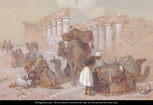 Arabs with their camels by temple ruins - Joseph-Austin Benwell