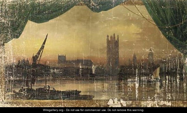 The Palace of Westminister from the Thames - Joseph Arthur Palliser Severn