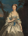 Portrait of the Duchess of Argyll, three-quarter-length, in an oyster satin dress trimmed with blue ribbons, in a wooded landscape - Joseph Highmore