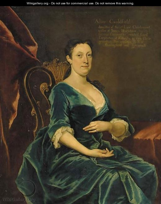 Portrait of Alice Caulfeild, daughter of William, 1st Viscount Charlemont, three-quarter-length, in a blue dress, seated in an interior - Joseph Highmore