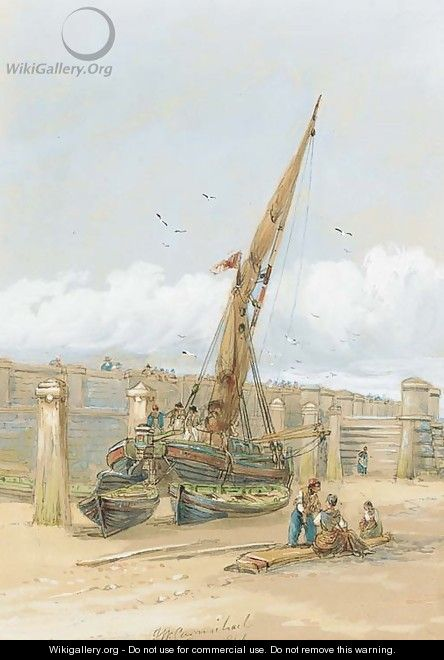 Fishermen gossiping before a beached vessel - James Wilson Carmichael