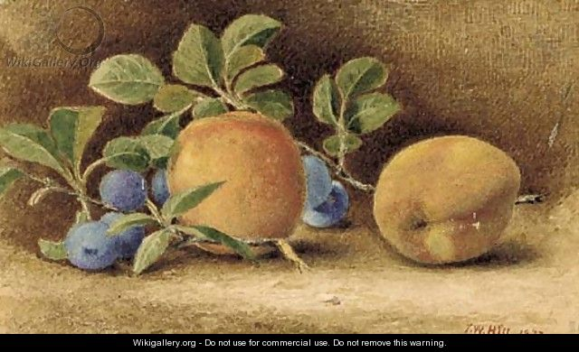 Still Life with Peaches and Plums - John William Hill