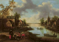 A river landscape with figures outside an inn and fishermen in boats, a family conversing in the foreground - Joost Cornelisz. Droochsloot