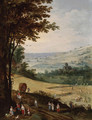 Peasants harvesting, an extensive landscape with a church beyond - Joos or Josse de, The Younger Momper