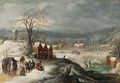A winter landscape with soldiers at a village - Joos De Momper