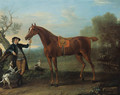 Squirrel, a thoroughbred chestnut Hunter held by a Groom, in an extensive wooded landscape - John Wootton