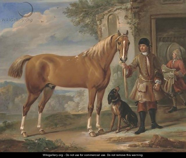 John Shafto of Bavington Hall, and Whitworth Hall, Northumberland, holding a hunter, in a landscape with a groom and stable beyond - John Wootton