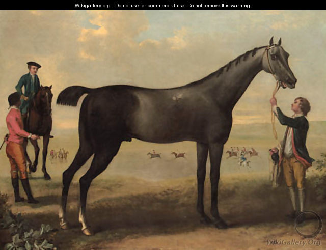 Childers, a dark bay racehorse held by a groom, with a horse and rider and jockey beside him, in an extensive landscape. - John Wootton