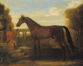 A dark bay Arab stallion, held by a groom seated on stone steps by a classical urn, a viaduct in the landscape beyond - John Wootton