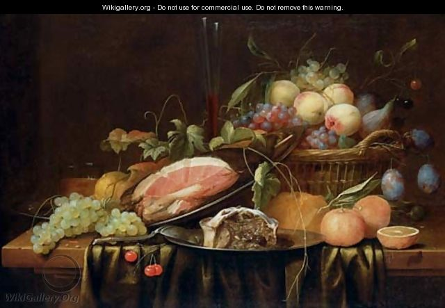 Ham and a sweetmeat pie on pewter plates, peaches, grapes, figs and plums in a basket, a bread roll, oranges, a sprig of cherries, a bunch of grapes - Joris Van Son