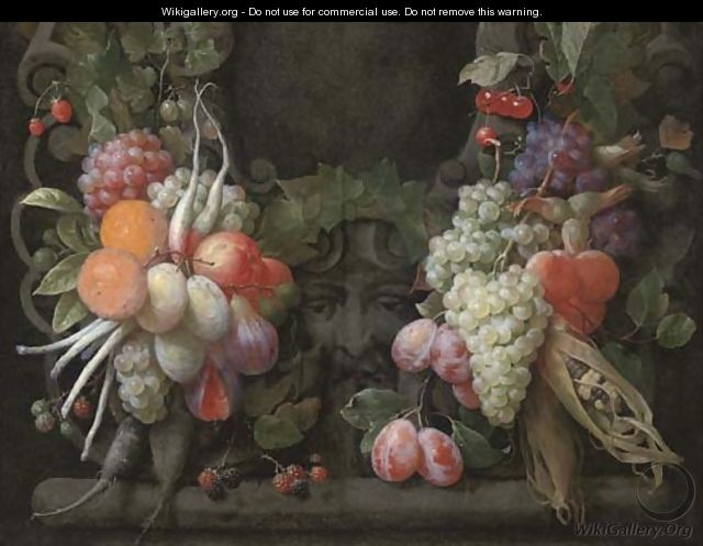 Grapes, gooseberries, blackberries, figs, oranges, plums, radishes, asparagus, maize, cherries and other fruits surrounding a stone cartouche - Joris Van Son