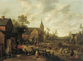 A village scene with peasants playing and conversing - Joost Cornelisz. Droochsloot