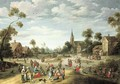A village kermesse with numerous peasants feasting and making merry - Joost Cornelisz. Droochsloot