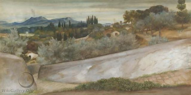 A Tuscan landscape with village and olive grove - John Roddam Spencer Stanhope