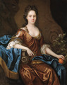 Portrait of Frances Wiat, three-quarter-length, seated, in an ochre dress and blue wrap, holding an orange in her left hand - John Riley