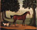 A Bay Horse and Spaniel in a Landscape - John Burell Read