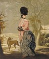 Winter, Portrait of a lady, full-length, in a blue dress with pink wrap and black hat, in a landscape with a dog - John Raphael Smith