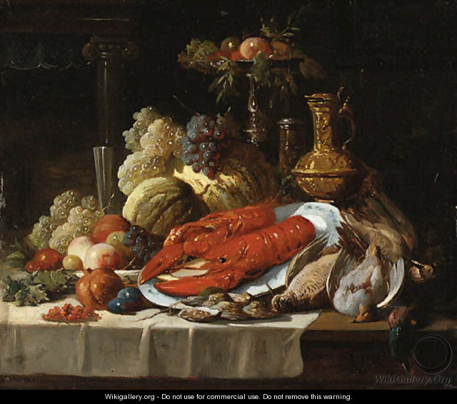 Still Life with lobster, oysters, fruit and fowl on a draped table. - John Seymour Lucas