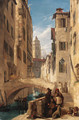 View of a Venetian canal with a religious procession on a bridge, and a monk at the foot of the steps - John Scarlett Davis