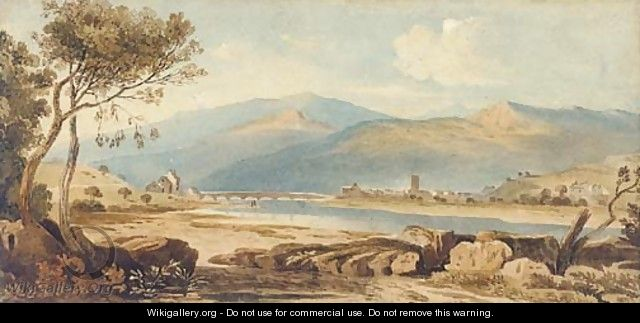 Machynlleth, Powys, from the river Dovey, Wales - John Varley