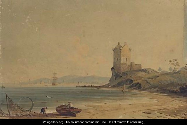 Figures mending the nets on the foreshore before a ruined tower - John Varley