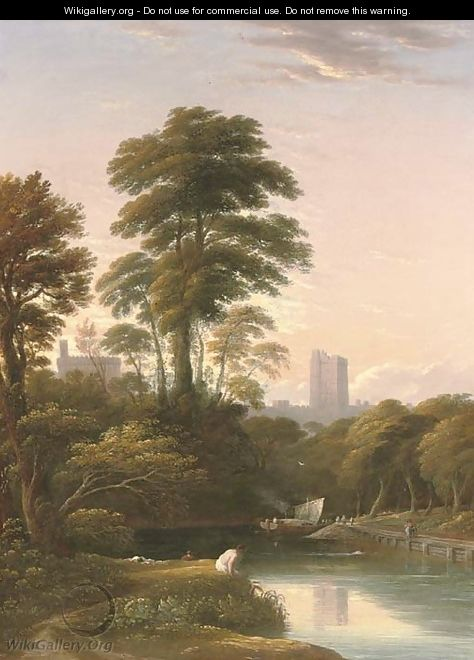 The bank of the Thames with figures in the foreground and Windsor Castle beyond - John Varley