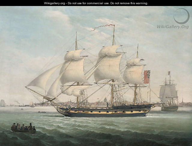Merchantmen in the Mersey, with the port of Liverpool beyond - John Jenkinson