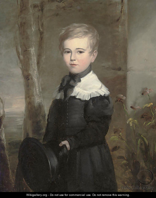 Portrait of a young boy, three-quarter-length, in school uniform, holding a black hat in his left hand, in a landscape - John James Masquerier