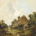 Figures before a cottage with a barn beyond - John James Wilson